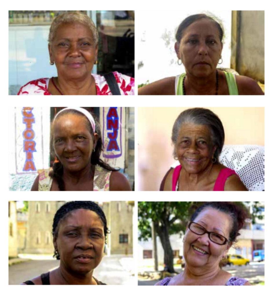 Mosaico de rostros de mujeres cubanas de distintas edades.
