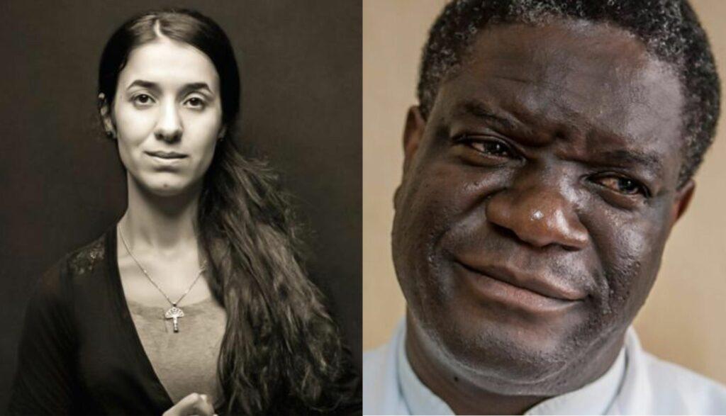 Mosaico con retratos de los Premios Nóbel de la Paz: Nadia Murad y Dennis Mukwege.