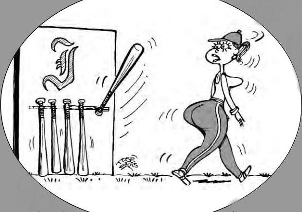 """Caricatura: un bate de béisbol reacciona como """"un pene"""" al paso de una mujer. Se ve el logotipo del equipo """"Industriales""""."""