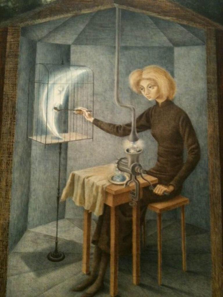 Pintura surrealista de Remedios Varo: una mujer alimenta a una medialuna dentro de una jaula.
