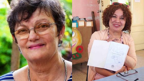 Las escritoras Olga García Yero e Ileana Álvarez.