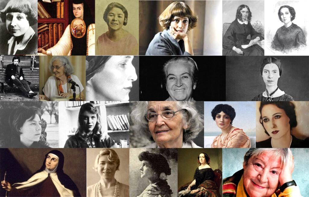 Mosaico con rostros de mujeres poetas de todos los tiempos.