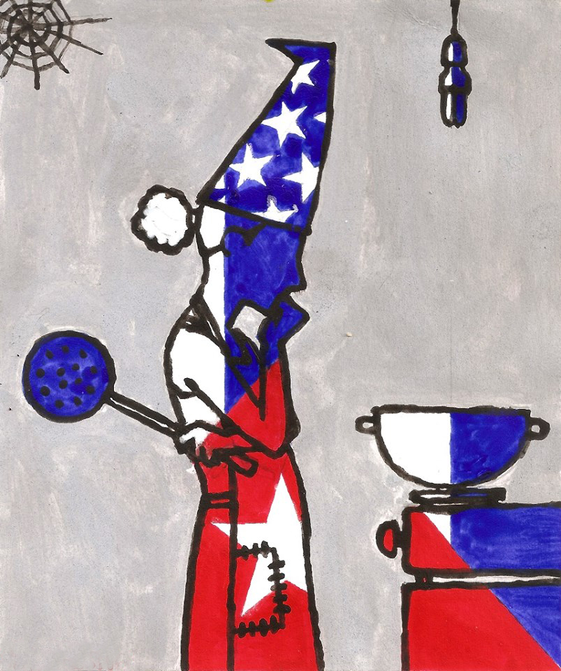 Dibujo: una mujer con gorro de cumpleaños parada frente a un fogón.