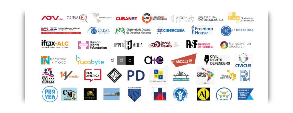 Logos de medios y organizaciones firmantes